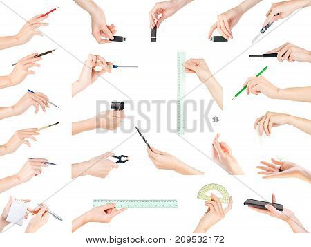 Hands Holding Office, Stationery, Writing And Education Theme Items Set. Isolated With Clipping Path