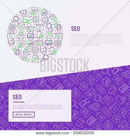 SEO and development concept in circle with thin line icons. Vector illustration for banner, web page, print media with place for text.