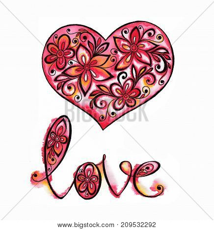 watercolor decorative red heart with lettering in colors for design, Valentine's Day