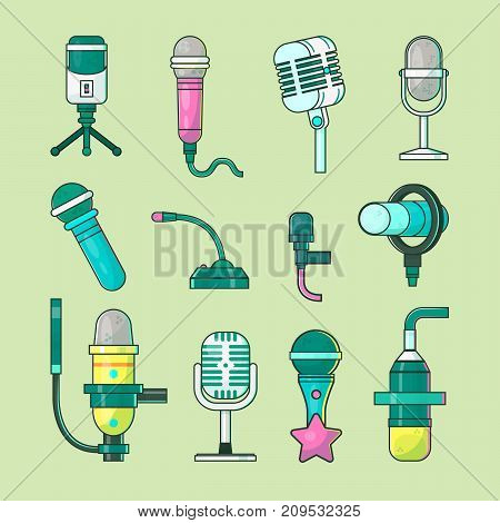 Microphone vector icons mike telecommunication transmitter for tv, radio, music voice record professional equipment. Media mic sound technology.