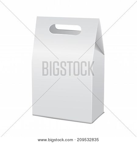Realistic white 3d model cardboard take away food box mock up. Empty product container template, isolated vector illustration for your design