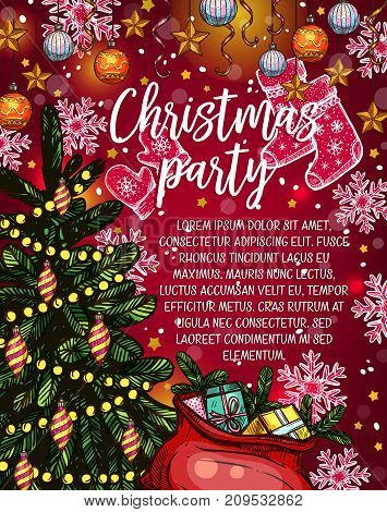 Christmas party invitation banner for winter holidays celebration. Xmas tree with star, ball and lights, Santa gift bag with present box, ribbon and bow sketch banner, decorated by snowflake and sock