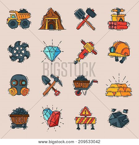 Coal engineering mining industry work business construction factory line icons vector illustration. Miner fuel energy truck mineral equipment manufacture.