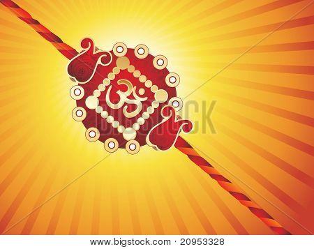 yellow rays background with isolated rakhi