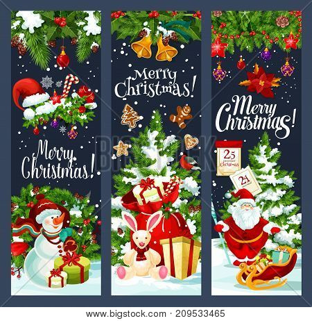 Merry Christmas greeting banners of Santa gift bag at Christmas tree and snowman on sleigh. Vector Xmas bell on wreath decoration for New Year party winter holiday seasonal wish design template