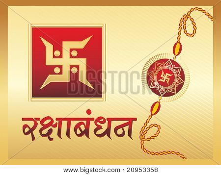 background with rakhi, swastika