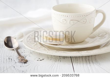 Empty Cup Of Coffee On The Wooden Table