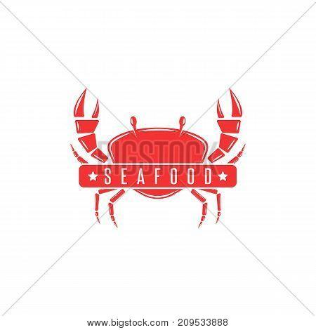 Red Crab Logo Silhouette Of A Crustacean, Seafood Menu Emblem, Fresh Crab Meat Advertising Banner