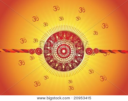 abstract yellow om background with isolated rakhi