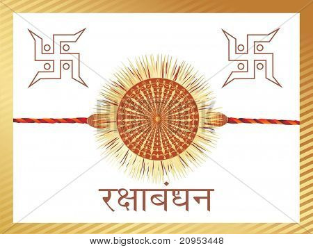 white background with isolated rakhi, swastika