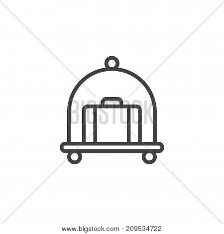 Hotel luggage cart with suitcase line icon, outline vector sign, linear style pictogram isolated on white. Symbol, logo illustration. Editable stroke
