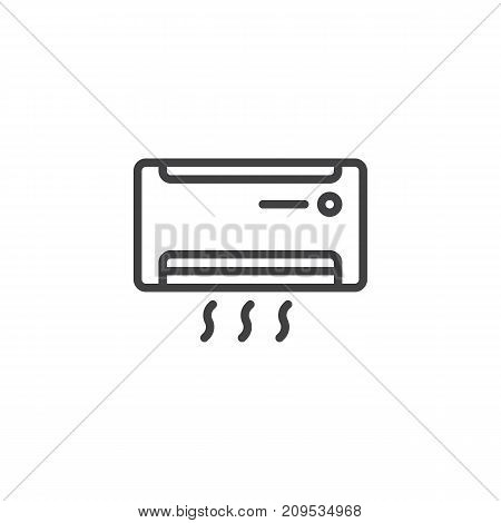 Air conditioner line icon, outline vector sign, linear style pictogram isolated on white. AC unit symbol, logo illustration. Editable stroke