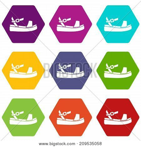 Women sandale icon set many color hexahedron isolated on white vector illustration