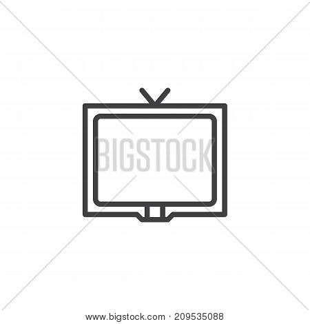 Television line icon, outline vector sign, linear style pictogram isolated on white. Cable tv symbol, logo illustration. Editable stroke