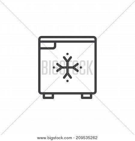 Hotel mini fridge line icon, outline vector sign, linear style pictogram isolated on white. Symbol, logo illustration. Editable stroke