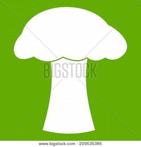 Mushroom icon white isolated on green background. Vector illustration