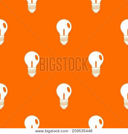 Light bulb pattern repeat seamless in orange color for any design. Vector geometric illustration