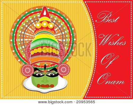 background with kathkali dancer facepattern greeting for onam poster
