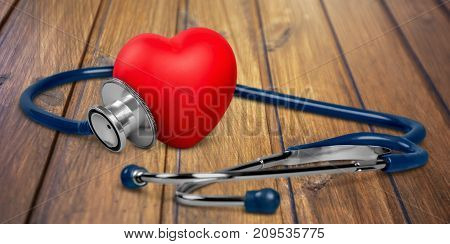 Medical plastic heart stethoscope red objects blue