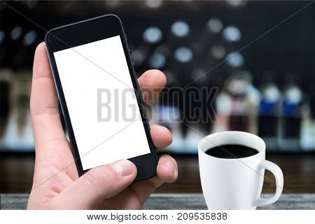 One man coffee phone man face color background