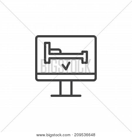 Hotel room online booking, line icon, outline vector sign, linear style pictogram isolated on white. Computer screen with bed symbol, logo illustration. Editable stroke