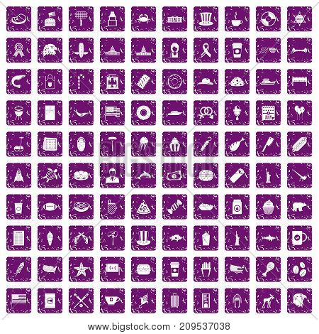 100 USA icons set in grunge style purple color isolated on white background vector illustration