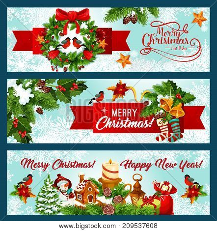 Christmas and New Year banner border with Xmas tree wreath and red ribbon. Pine and holly branch, gift box, snowflake and bell with bow, snowman, star and sock, candle and gingerbread cookie