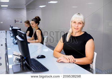 A portrait of a call center operator