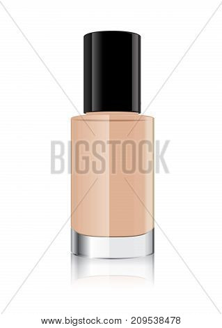 Nude nail polish in clear bottle which put the bottle lid on top and have some blot drop on floor.