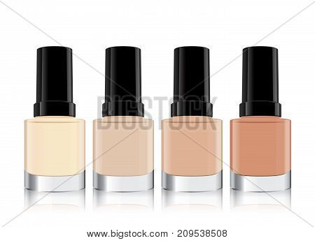 Nude color nail polish in clear bottle mock up mini size which arrange from light color to dark color