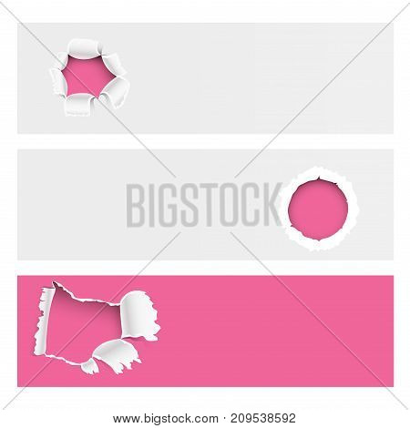 Torn edges hole lacerated ragged paper edge brochure crack realistic 3d style vector illustration collection, concept grunge page template. Torn edge ripped damage opening banner background.