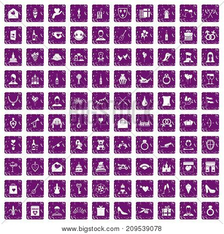 100 valentine day icons set in grunge style purple color isolated on white background vector illustration