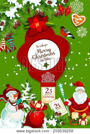 Santa Claus and snowman with gift bag for Christmas greeting banner. Xmas tree and holly berry with present, candy cane and snowflake, ball, candle and red sock, gingerbread, calendar and poinsettia