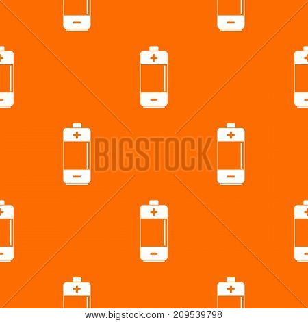 Alkaline battery pattern repeat seamless in orange color for any design. Vector geometric illustration