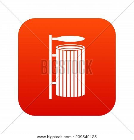 Public trash can icon digital red for any design isolated on white vector illustration