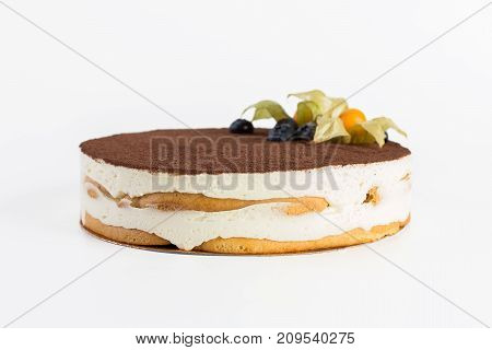 Cake Tiramisu On A White Background
