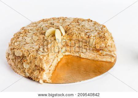 layered cake Napoleon on a white background