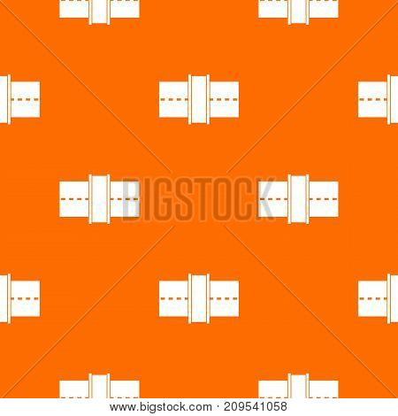 Road pattern repeat seamless in orange color for any design. Vector geometric illustration