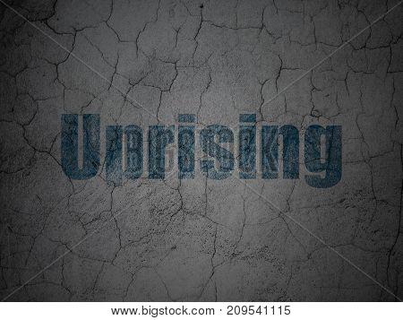 Politics concept: Blue Uprising on grunge textured concrete wall background