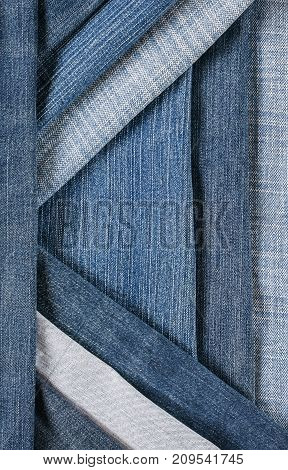 fashionable and stylish textured background with horizontal and diagonal stripes denim of various shades of blue