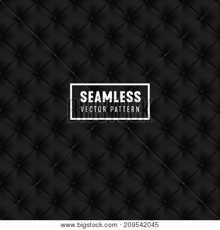 Vector seamless black color Upholstery pattern. Black luxury abstract background.