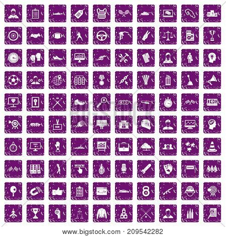 100 victory icons set in grunge style purple color isolated on white background vector illustration