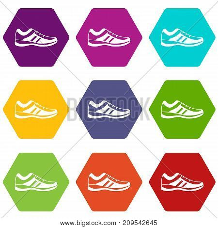 Men sneakers icon set many color hexahedron isolated on white vector illustration