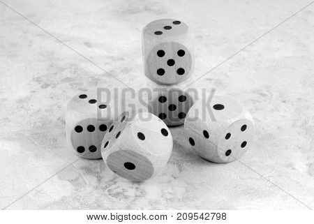 closeup of the dices on marble stone table