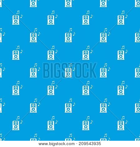 Portable music speacker pattern repeat seamless in blue color for any design. Vector geometric illustration