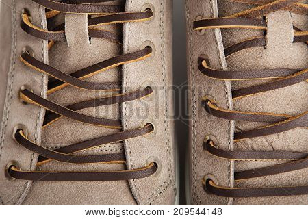 Closeup Leather Lacing Background Texture