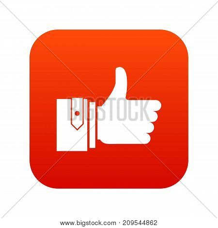 Thumbs up icon digital red for any design isolated on white vector illustration