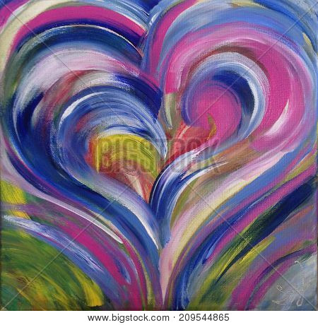 Acrylic painting on canvas of abstract heart shape