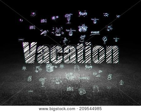 Holiday concept: Glowing text Vacation,  Hand Drawn Holiday Icons in grunge dark room with Dirty Floor, black background