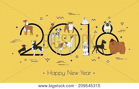 Banner in breeds of dogs - symbol 2018. Happy New Year. Memphis style. Isolated on white background. Eastern calendar. Banner can be used for advertising greetings sale. Vector illustration